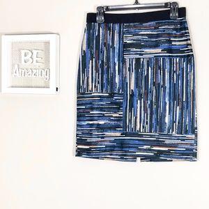 Ann Taylor Printed Blue Mini Skirt